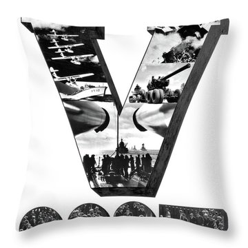1940s V For Victory Montage Of World Throw Pillow