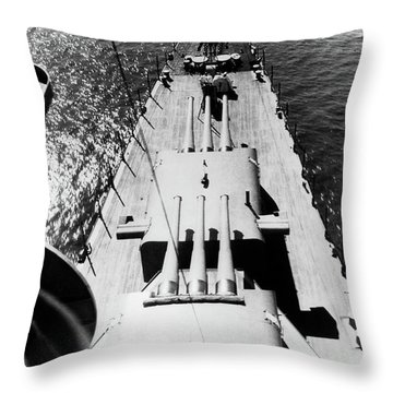 1940s Wwii Us Navy Ship Cruiser Bow Throw Pillow