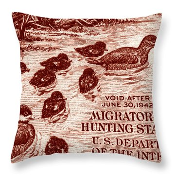 1941 American Bird Hunting Stamp Throw Pillow