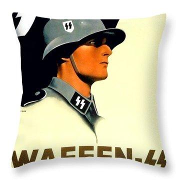 1941 - German Waffen Ss Recruitment Poster - Nazi - Color Throw Pillow