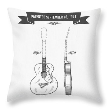 1941 Guitar Patent Drawing Throw Pillow by Aged Pixel