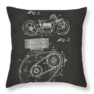 1941 Indian Motorcycle Patent Artwork - Gray Throw Pillow by Nikki Marie Smith