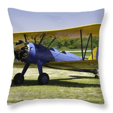 1941 Stearman A75n1 Biplane Airplane  Throw Pillow