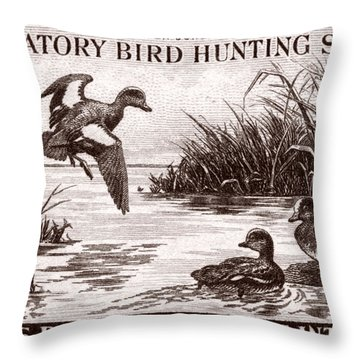 1942 American Bird Hunting Stamp Throw Pillow