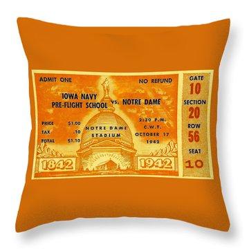 1942 Football Ticket Notre Dame Vs Iowa Navy Pre-flight Throw Pillow
