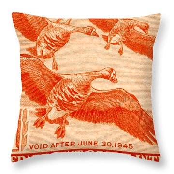 1944 American Bird Hunting Stamp Throw Pillow by Historic Image