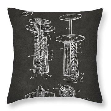 1944 Wine Corkscrew Patent Artwork - Gray Throw Pillow by Nikki Marie Smith