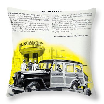1946 - Willys Overland Jeep Station Wagon Advertisement - Color Throw Pillow