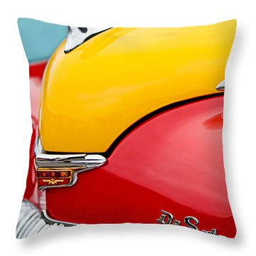 1946 Desoto Skyview Taxi Cab Hood Ornament Throw Pillow