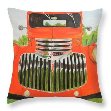1946 Red Chevy Truck Throw Pillow