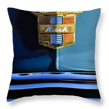1947 Nash Surburban Hood Ornament Throw Pillow by Jill Reger