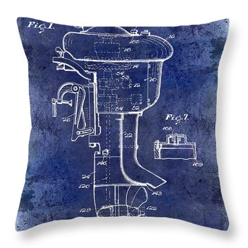 1947 Outboard Motor Patent Drawing Blue Throw Pillow