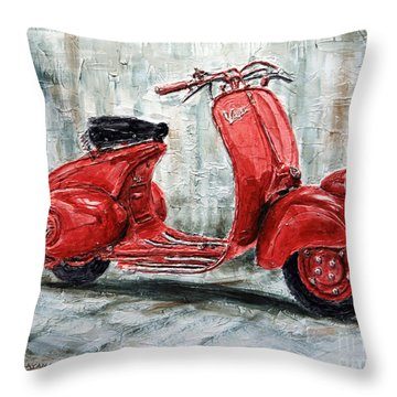 1947 Vespa 98 Scooter Throw Pillow