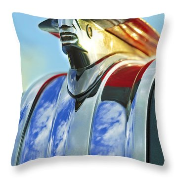 Throw Pillow featuring the photograph 1948 Pontiac Hood Ornament by Jill Reger