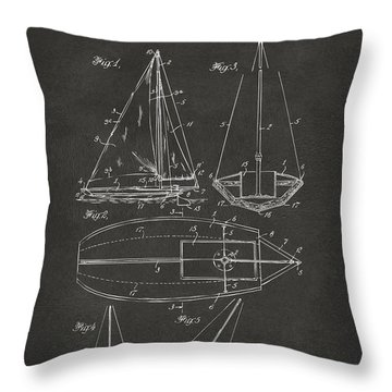 1948 Sailboat Patent Artwork - Gray Throw Pillow by Nikki Marie Smith
