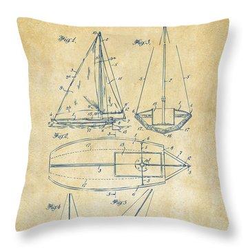 1948 Sailboat Patent Artwork - Vintage Throw Pillow by Nikki Marie Smith