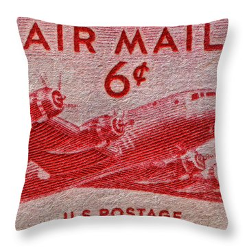 1949 Dc-4 Skymaster Air Mail Stamp Throw Pillow by Bill Owen