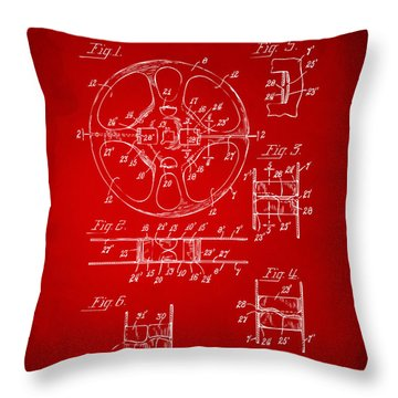 1949 Movie Film Reel Patent Artwork - Red Throw Pillow by Nikki Marie Smith