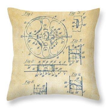 1949 Movie Film Reel Patent Artwork - Vintage Throw Pillow by Nikki Marie Smith