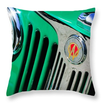 1949 Willys Jeep Station Wagon Grille Emblem Throw Pillow by Jill Reger