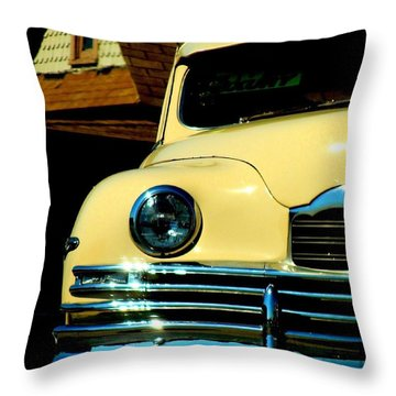 Throw Pillow featuring the photograph 1950 Yellow Packard by Janette Boyd