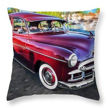 1950 Chevrolet Sedan Deluxe Painted  Throw Pillow