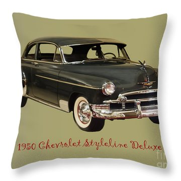 1950 Chevy Throw Pillow by B Wayne Mullins