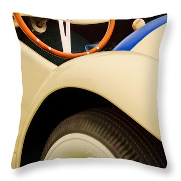 1950 Eddie Rochester Anderson Emil Diedt Roadster Steering Wheel Throw Pillow by Jill Reger