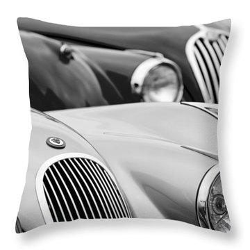1950 Jaguar Xk120 Roadster Grille 2 Throw Pillow by Jill Reger