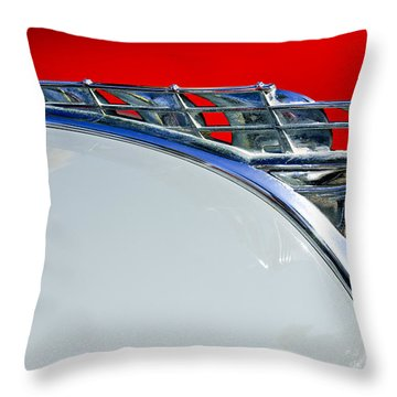 1950 Plymouth Hood Ornament 3 Throw Pillow