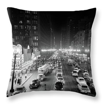 1950s 1953 Night Scene Of Chicago State Throw Pillow