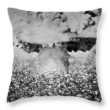 1950s 1960s Atomic Bomb Symbolic Throw Pillow