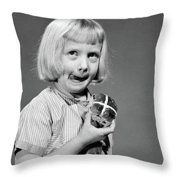 1950s 1960s Blonde Girl Licking Throw Pillow