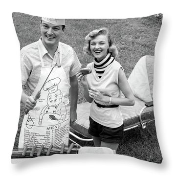 1950s 1960s Couple Backyard Grilling Throw Pillow