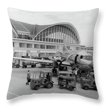 1950s 1960s Propeller Airplane Throw Pillow