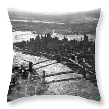 1950s Aerial Downtown Manhattan East Throw Pillow