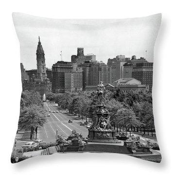 1950s Benjamin Franklin Parkway Looking Throw Pillow