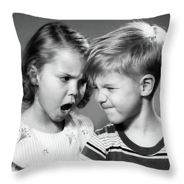 1950s Boy And Girl Arguing Head To Head Throw Pillow
