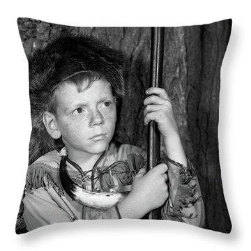 1950s Boy Wearing Raccoon Skin Hat Throw Pillow