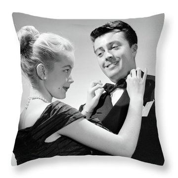 1950s Couple In Formal Attire Woman Throw Pillow
