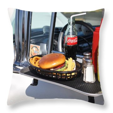 1950's Drive In Movie Snack Tray Throw Pillow