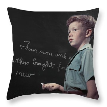 1950s Freckle Faced Red Haired Boy Throw Pillow