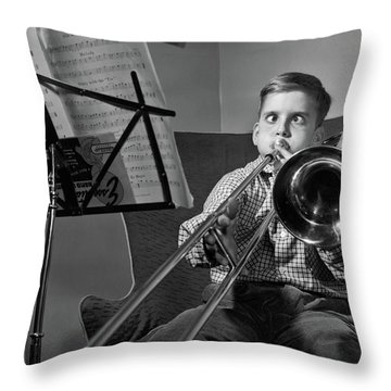 1950s Funny Cross-eyed Boy Playing Throw Pillow
