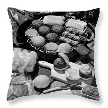 1950s Hamburgers Hot Dogs Buns Cookout Throw Pillow