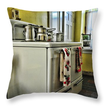 1950's Kitchen Stove Throw Pillow by Paul Ward