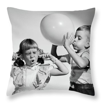 1950s Little Boy Blowing Up Big Balloon Throw Pillow