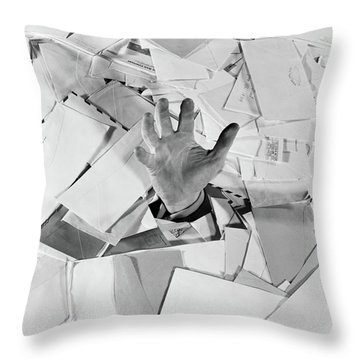 1950s Male Hand Sticking Out Of Pile Throw Pillow