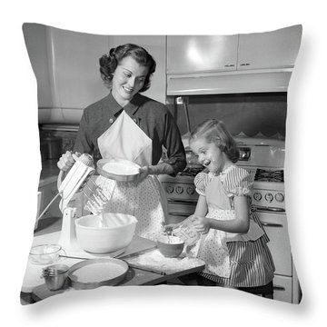 1950s Mother & Daughter Baking A Cake Throw Pillow