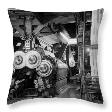 1950s Newspaper Presses Rolling Throw Pillow