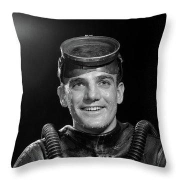 1950s Portrait Of Man In Scuba Gear Throw Pillow